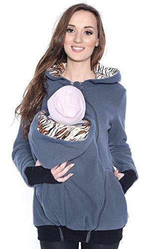 Mija - 3in1 Tragejacke, Umstandsjacke/Fleece Tragepullover für Tragetuch für Babytrage 4018A (L / 40, Dunkelgrau Nr2.)