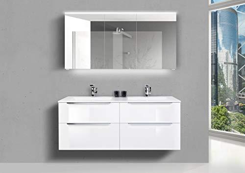 Intarbad ~ Doppelwaschtisch 140 cm Badmöbel Set Sky, mit Led Spiegelschrank, Weiß Hochglanz Lack Weiß Matt Lack IB1746