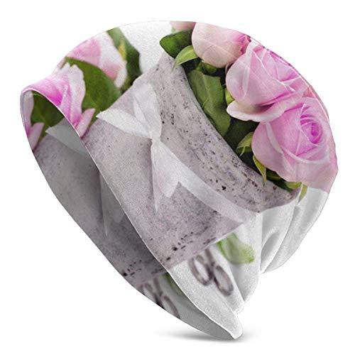 zhouyongz Bouquet Small Roses Pink Flowers Tägliche Herrenmütze, warme, lässige, weiche Kopfbedeckung, ganzjähriger Komfort, seriöse Mützen für s
