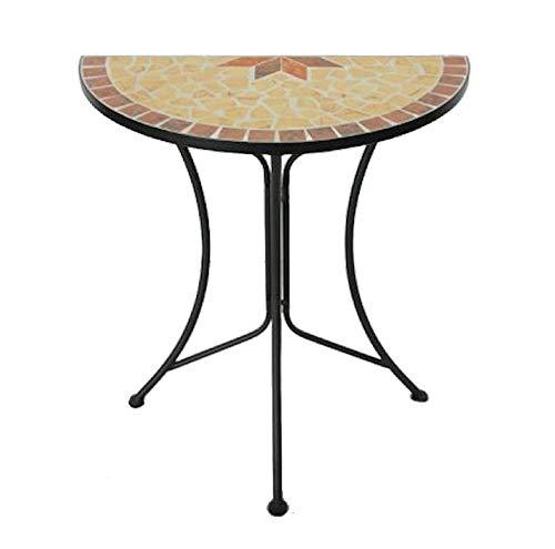 Spetebo Metall Beistelltisch mit Mosaik Platte - halbrund - Deko Gartentisch Balkontisch
