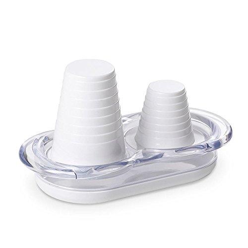 Omada Design Porta Bicchieri Acqua e Caffè, per Tutti i Bicchieri monouso in plastica o carta, in Plastica Infrangibile, Lavabile in Lavastoviglie, linea Happy Drink, ideale per l'utilizzo outdoor, Colore Bianco
