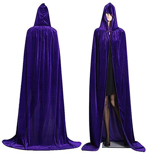 EisEyen Mantello lungo con cappuccio, costume di carnevale per adulti, unisex, verde/rosso/viola/nero