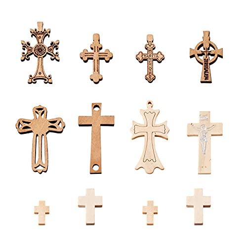 Beadthoven - 100 colgantes de cruz de madera natural con crucifijo religioso para hacer collares y joyas, 10 estilos
