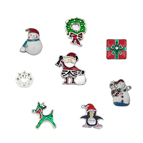 Uniqueen 8 pcs Christmas Floating Charms for Glass Living Memory Lockets Necklace & Bracelets