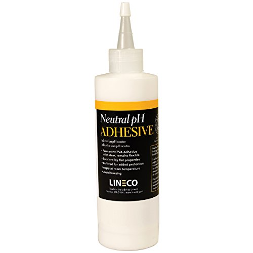 Lineco Neutral pH Adhesive, Acid-Free PVA Formula Water Soluble Dries Clear and Quick Flexible When Dried. 8 Ounces. Ideal For Book Binding and Other Paper Projects. White