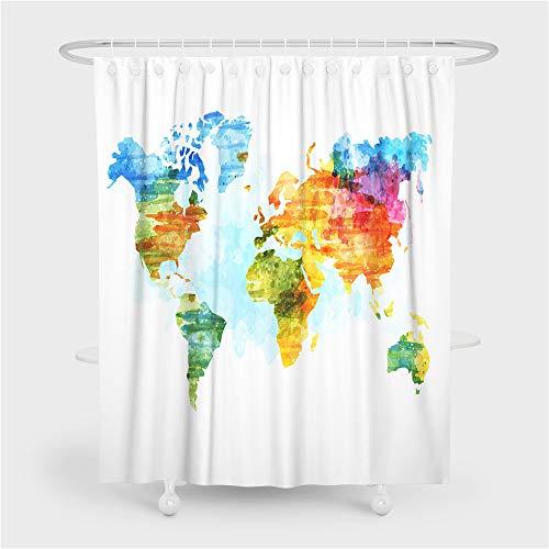 Fansu Duschvorhang Wasserdicht Anti-Schimmel Anti-Bakteriell 3D Weltkarte Drucken mit C-Form Kunststoff Haken mit 12 Ringe für Badzimmer, 100% Polyester Bad Vorhang (Weiß,90x180cm)