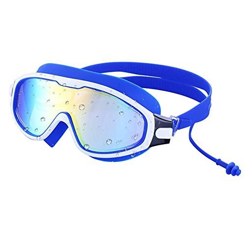 UNIhappy Gafas de natación de marco grande impermeables Anti-niebla hombres mujeres gafas de deporte (azul)