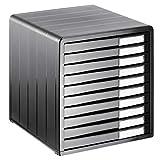 Rotho Timeless - Cajón/Caja de Oficina con 10 Cajones, Plástico (PS) sin BPA, Gris Antracita, 34.5 x 29.0 x 32.0 cm