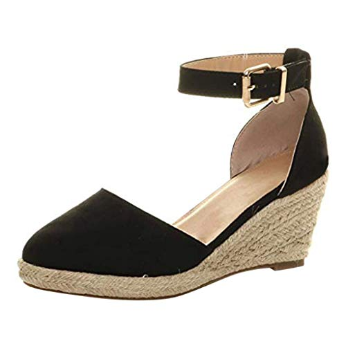 Viviplus Women's Summer Weaving Breathable Wedges Sandals, Buckle Ankle Strap High Heel Closed Toe Espadrille Platforms Shoes