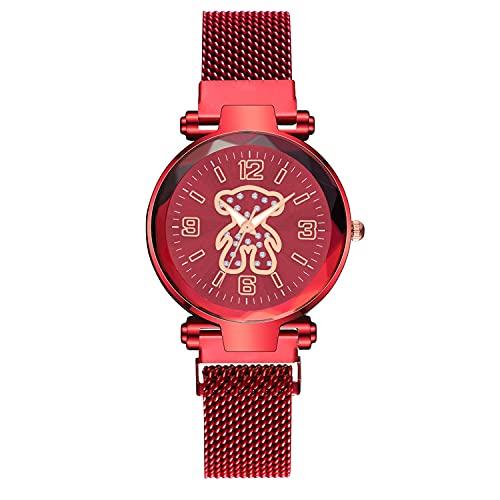 CXJC Moda Rhinestone Dibujos Animados Bear Bear Model Watch Watch. Reloj de Banda Milanés de Acero Inoxidable, Reloj Deportivo Casual (Color : Si)