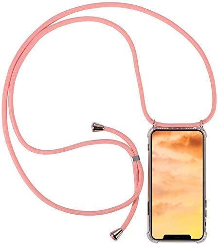 Uposao Kompatibel mit Samsung Galaxy A6 2018 Hülle Handykette Smartphone Necklace Hülle Silikon Hülle mit Kordel zum Umhängen Transparent Schutzhülle mit Band Handyhülle mit Kette,Rosa