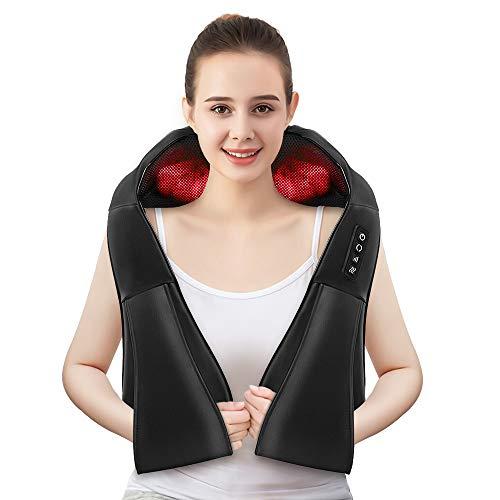 Nackenmassagegerät, mixigoo Schulter Massagegerä für Nacken Rücken Shiatsu Nackenmassagegerät mit Wärmefunktion 3D-Rotation Massage, Einstellbaren Geschwindigkeiten, für Haus Büro Auto