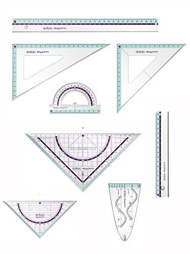Herlitz Zeichengarnitur 8tlg / Dreiecke, Lineale, Winkelmesser, Parabel / türkis