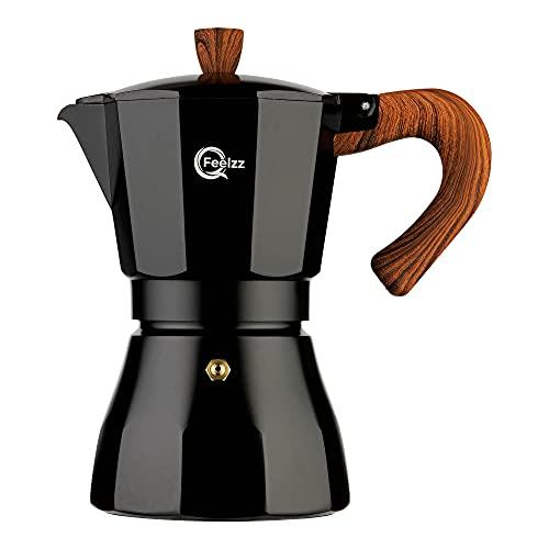 QFeelzz – hochwertiger Espressokocher; für Induktion geeignet - Aluminium [6 Tassen] – Klassischer Mokkakocher inkl. Ersatzmaterialien - Schwarz