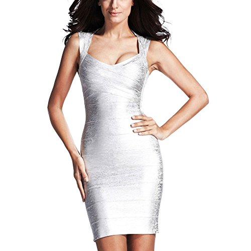 HLBandage Women Metallic Sleeveless Halter Bodycon Bandage Dress(M,Plateado)