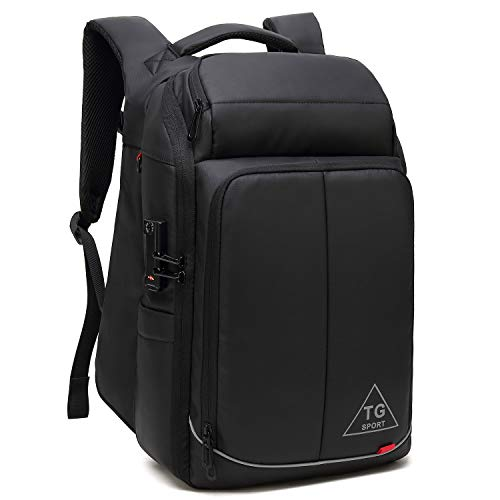 Fresion Anti-diefstal Business Rugzak voor heren – laptop rugzak met USB-aansluiting voor opladen, rugzak voor 15,6 inch laptops, reisrugzak, handbagage, vliegtuig voor werk zakenreizen, zwart