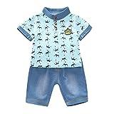 Moneycom Toddler Kids – Camiseta corona para bebé niño + pantalón 2 unidades vaqueros cortos Set de nacimiento de algodón traje de verano chic ceremonia boda azul 2-3 Años
