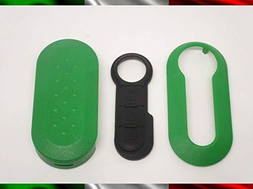 TOPBEST Coque de clé + boutons en caoutchouc compatible avec Fiat 500 Grande Punto Evo Bravo Panda 500L Lancia Y Ypsilon Musa Delta coque verte + Vidéo Tutorial extension pour le montage
