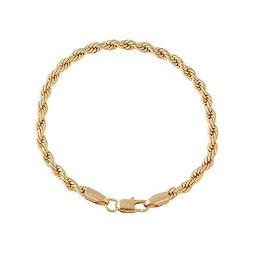 QiKun-Home Joyería de Moda Cadena para Hombres y Mujeres con Longitud 21cm 18K Chapado en Oro Joyería de la Amistad Joyería para Parejas Pulsera Encantos de Oro