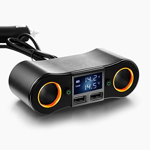 Chargeur de voiture, chargement de téléphone de voiture, chargeur de port intelligent USB double allume-cigare [noir]