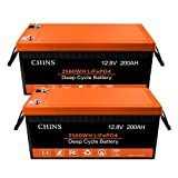 2 PCS 12V 200Ah LiFePO4 Deep Cycle Battery, Built-in 200A BMS, 2000-5000 Cycles, Each battery Can Support 2560W Power Output, Perfect for RV, Caravan, Solar, Marine, Home Storage and Off-Grid