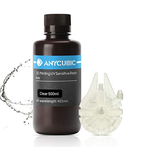 ANYCUBIC 3D Printer Resin, 405nm High Precision Fast Curing UV Photopolymer Resin for Photon/S,Mars/Mono/Mono X,LCD/DLP/SLA 3D Printer(Clear, 500ml)