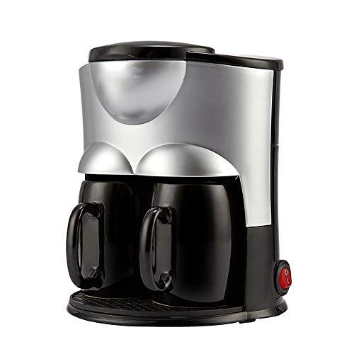 LYGACX Automatische Filterkaffeemaschine, automatische Kaffeemaschine für Bohnen und Tassen, doppelte Tasse Keramikbecher 300 W, für Instantkaffee, Espresso