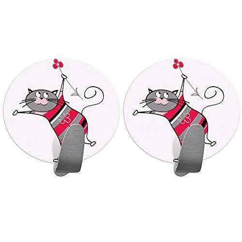 Tatkraft Funny Cats, Lot de 2 Porte-Serviettes Adhésifs Solides de Cuisine et Salle de Bain, Acier Inoxydable, 5 kg