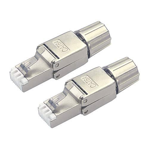 VCELINK RJ45 Stecker Werkzeuglos für Verlegekabel Cat6A Netzwerkstecker Werkzeuglos Feldkonfektionierbarer Geschirmt 2 Stück