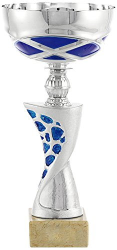 Art-Trophies TP143 Trofeo Deportivo Elise, Plata/Azul, 27 cm
