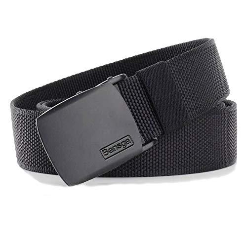 Bansga Cinturón táctico militar Hombres Hebilla metálica Espesar Cinturones de lona de nylon para hombres(A-Negro)