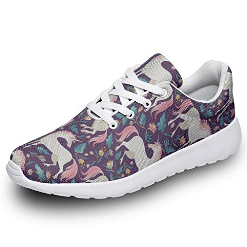 Wraill Herren Damen Laufschuhe Turnschuhe Einhorn Blume Pflanze Gedruckt Sneaker Atmungsaktiv Straßenlaufschuhe Wanderschuhe Laufen Schuhe Sportschuhe White 41