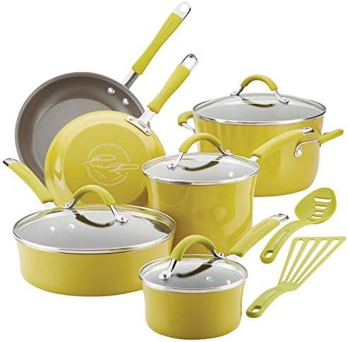 Rachael Ray Cucina Nonstick Cookware Pots and Pans Set 12 Piece Lemongrass Green product image