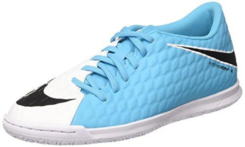 Nike Hypervenomx Phade 3 IC, Botas de fútbol para Hombre, (White/Black/Photo Blue/Chlorine Blue), 42.5 EU
