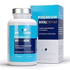 Capsules d'acide hyaluronique - à haute dose de 350 mg. 90 pièces (3 mois). Vitamine C, B12 et zinc. Hyaluron avec 500-700 kDa. Vegan - Pour la peau, l'anti-âge et les articulations - Acide hyaloonique