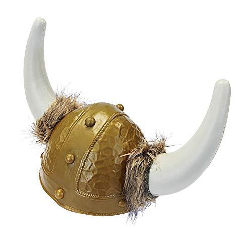 Widmann 2809K Deluxe Wikingerhelm mit Fell, Herren, Gold/Weiß, One Size