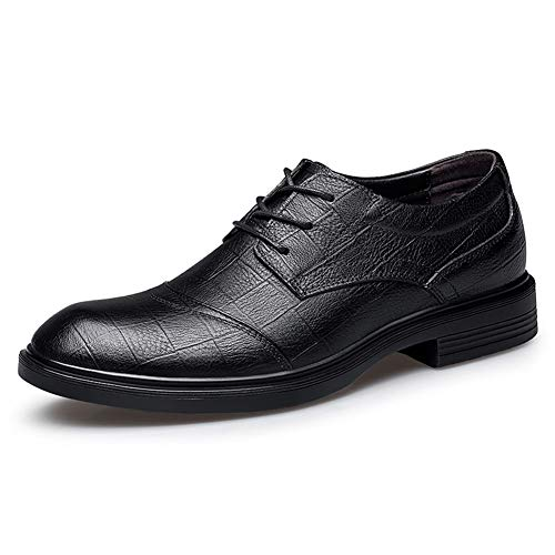 Zapatos de cuero para hombres Oxfords para hombres Zapatillas de guarnición formal de cordones Lace Up Fiesta de citas de negocios Top Top de cuero genuino vegano categórico antideslizante en relieve