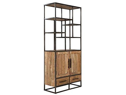 massivum Bücher-Regal Oklahoma 90x200x40 cm aus Massiv-Holz Akazie natur lackiert mit Metallgestellt schwarz lackiert 2-türig mit 2 Schubladen
