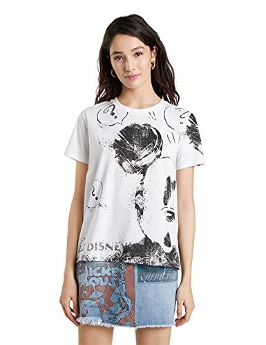 Desigual TS_Mickey Camiseta, Blanco, XXL para Mujer
