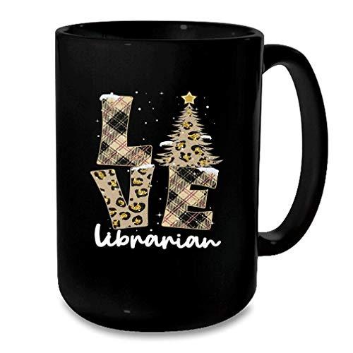 N\A Love Leopard Plaid rbol de Navidad Disfraz Bibliotecario Navidad Taza Negra Tamao Negro Talla nica