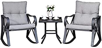 COSIEST 3-Piece Bistro Set with Patio Rocking Chairs