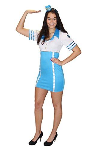 Foxxeo Sexy Stewardess Kostüm für Damen Flugbegleiterin Stewardesskostüm Damenkostüm Karneval Fasching Größe M
