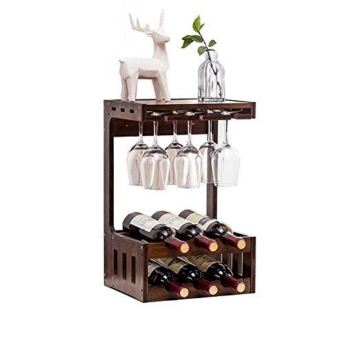 DFGVDFVBDFV Estante de Vino Creativo de Madera no sólida de Vino para el hogar montado en la casa de Vino de Vino de la Barra de Rack de Rack de Vino Puede Colgar Rack de bambú de Vidrio de Vino,A