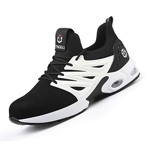 Zapatos de Seguridad Hombre Mujer Ligero Calzado Trabajo Zapatillas con Punta Acero Industriales Transpirable Seguridad Cómodas Antideslizante Anti Aplastamiento White41