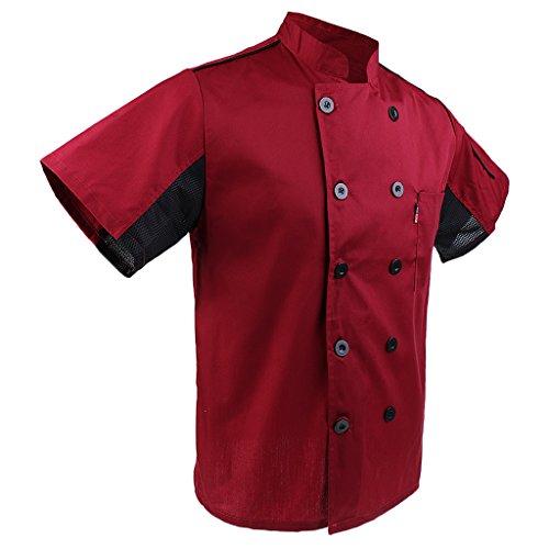 MagiDeal Herren und Damen Kurzarm atmungsaktiv Kochjacke mit Paspel und Knöpfe im verschiedenen Farben - Rot, XL