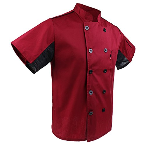 P Prettyia 2x Unisex Atmungsaktive Kochjacke Bäckerjacke mit Knöpfe Koch Arbeitsjacke Kochhemd Küche Arbeitskleidung XL - 9