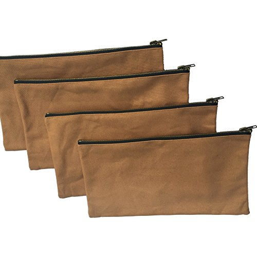 Heavy Duty 16 oz. Canvas Tool Bags with Metal Zippers Multi Purpose Waterproof Smart Storage Pouches Everyday Utility Tool Bags Organizer Best for Handymen Repairmen Woodworker (Khaki)