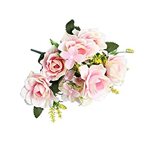 Artificial Flower for Party Home Decoration-1Pc Artificial Gardenia Decorative Lifelike Faux Silk Flower DIY Fake Floral Simulation for Home – Light Pink