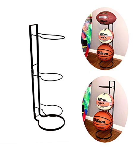 Sports Ball Storage Rack for Basketball Football Soccer Volleyball - 3-Tier Ball Holder Organizer for Garage Dorm or Bedroom   Sturdy Metal Basketball Rack to Display Any Sports Ball   Ball Organizer