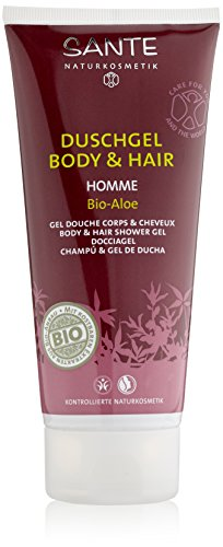 Sante Naturkosmetik Homme Duschgel Body und Hair Bio-Aloe 200ml, 4er Pack (4 x 200 ml)